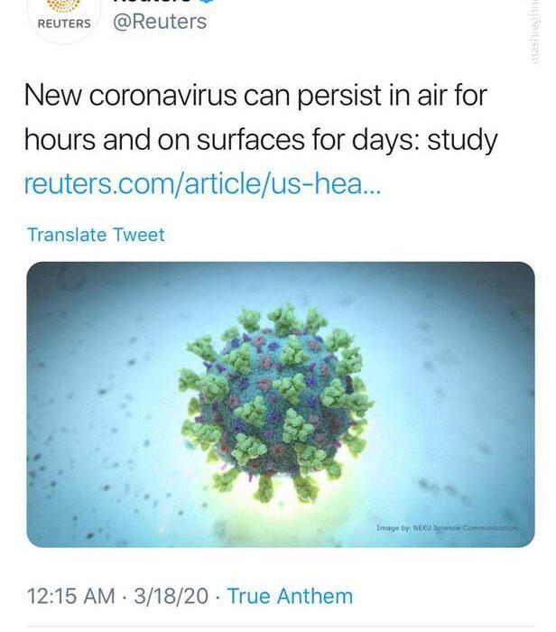 در خانه بمانید؛ کرونا ساعتها در هوا زنده میماند