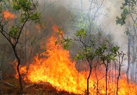 گسترش آتش سوزی در منطقه خاییز بهبهان و   انتظاربرای رسیدن هلی کوپتر آبپاش
