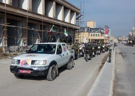 همزمان با سراسرکشوررژه موتورسواران وخودروی مراسم ۲۲بهمن درشهرستان هندیجان وشهرزهره برگزارشد
